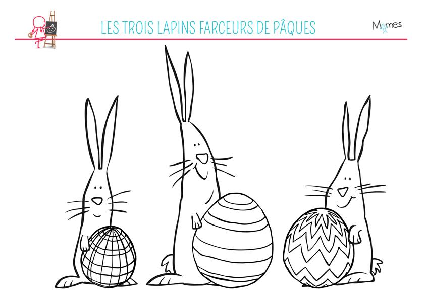 coloriages 3 lapins de paques