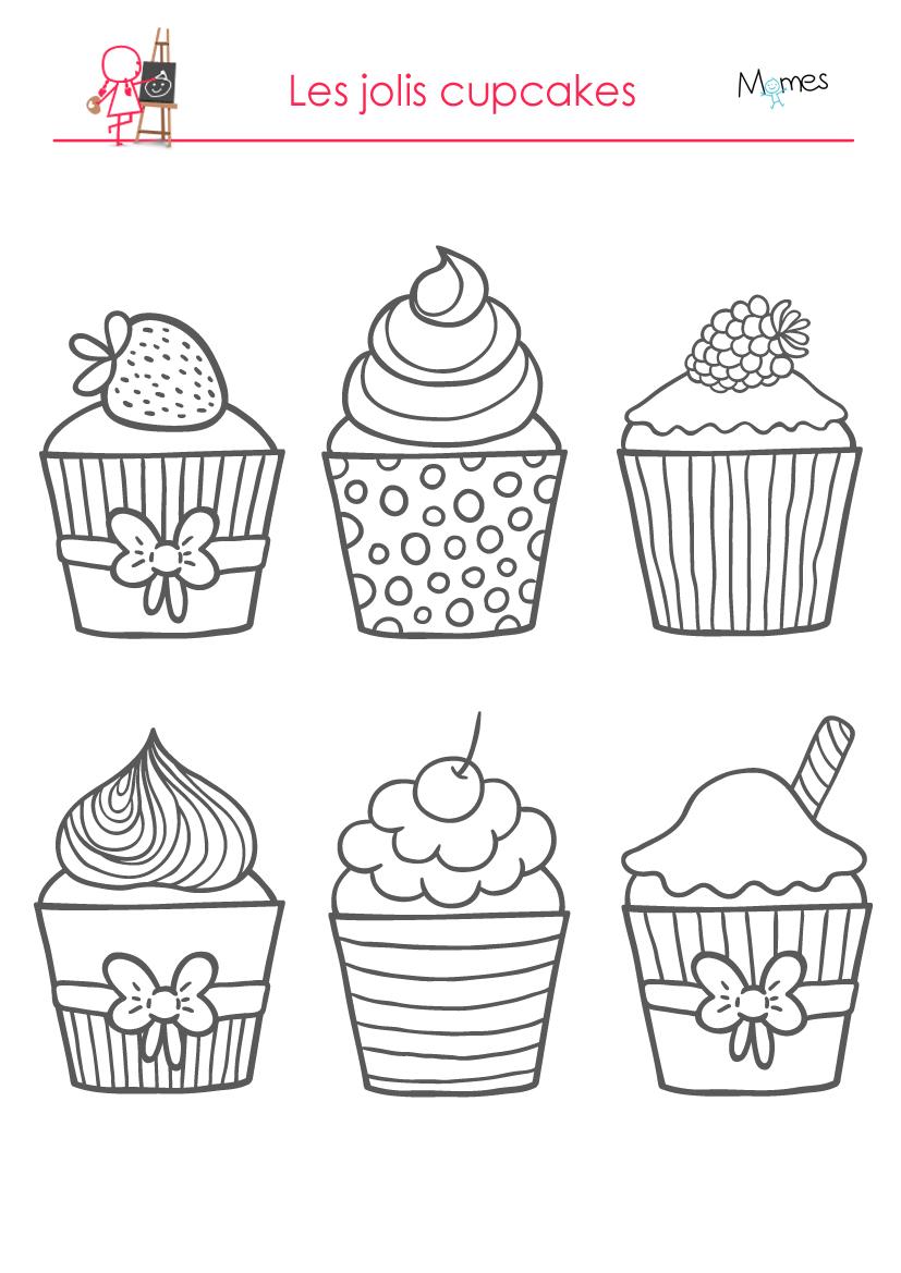 Coloriages les d licieux cupcakes - Dessin de gateau facile ...