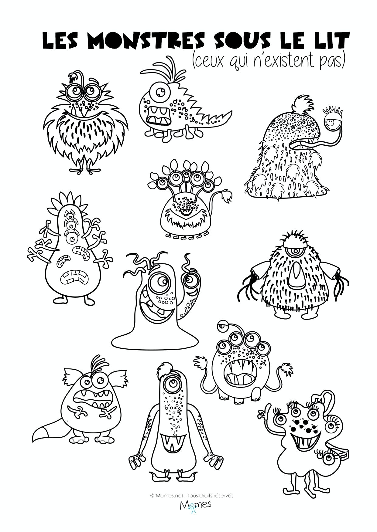 Coloriages les monstres sous le lit - Coloriage de monstres ...