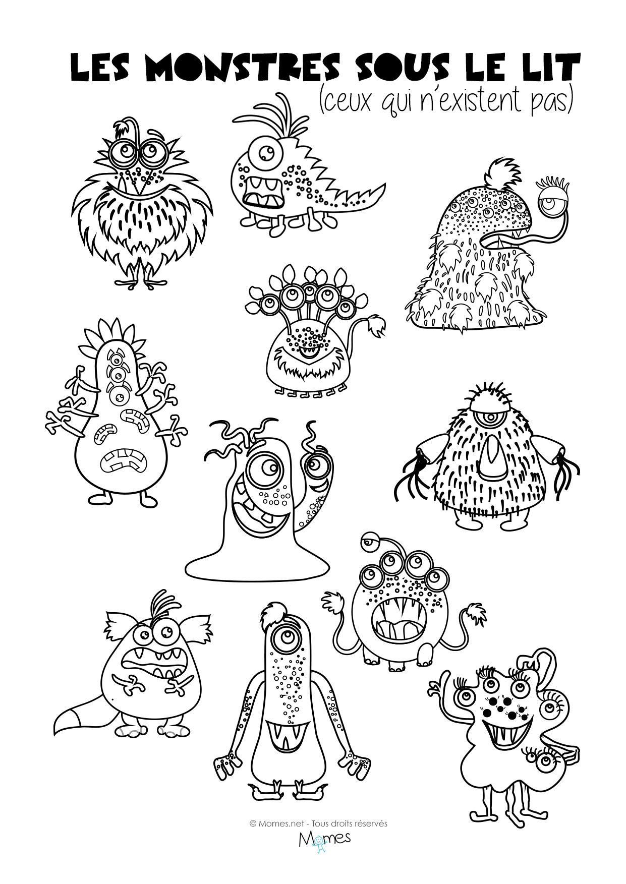 Coloriages les monstres sous le lit - Monstre a colorier ...