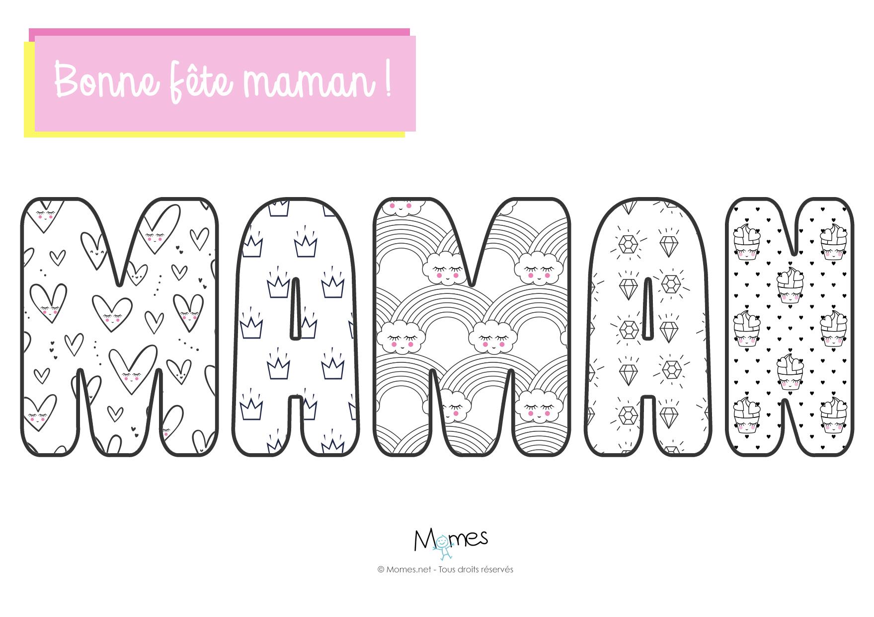Colorie le mot maman - Coloriage de maman ...