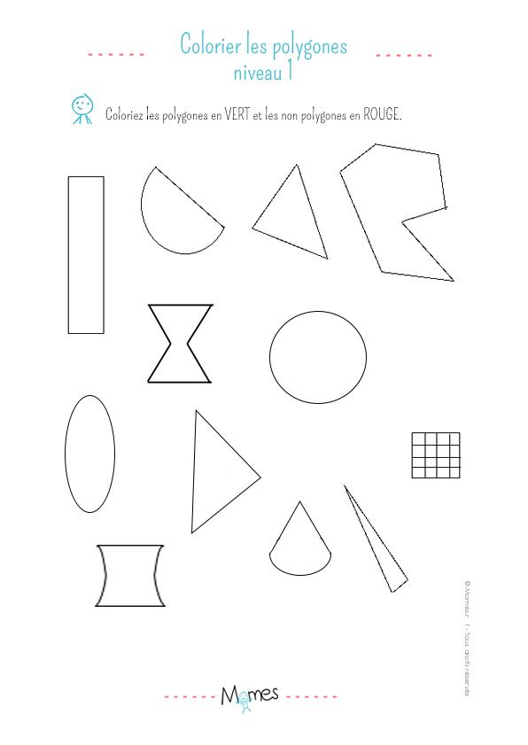 Colorier les polygones: exercice niveau 1