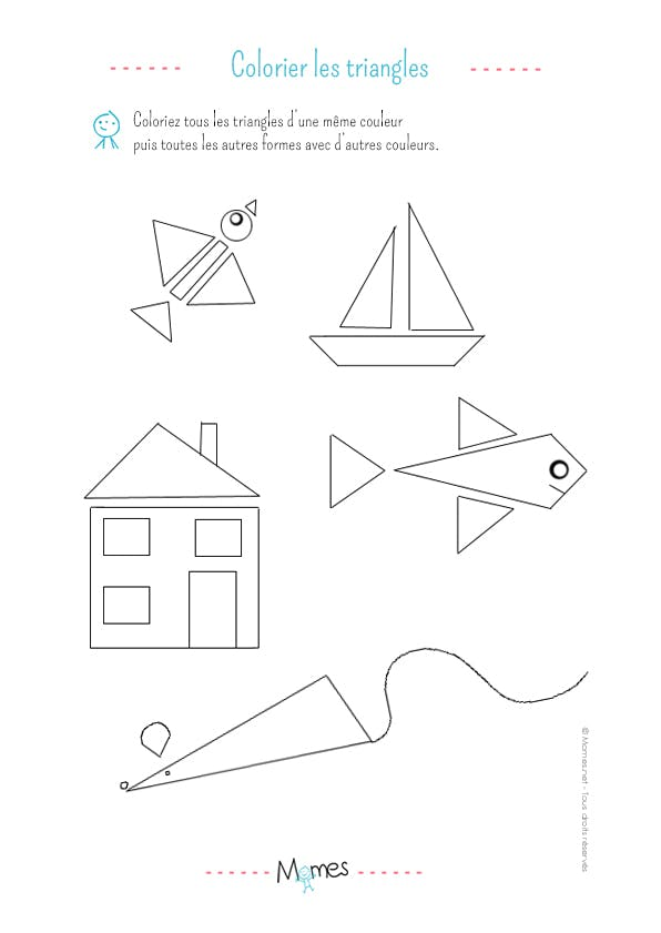 Colorier les triangles: exercice