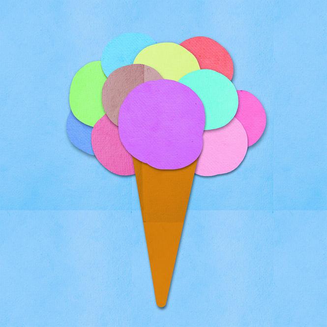 Affiche collage boules de glaces en papier for Glace a coller