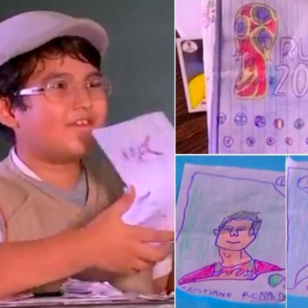 garçon de 8 ans brésilien dessine album panini coupe du monde football 2018