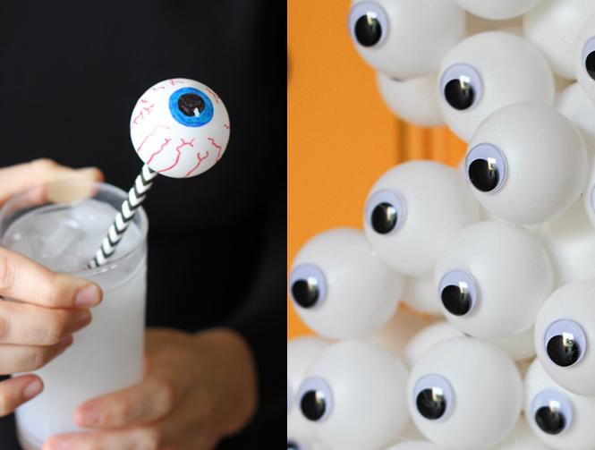 yeux avec des balles de ping pong