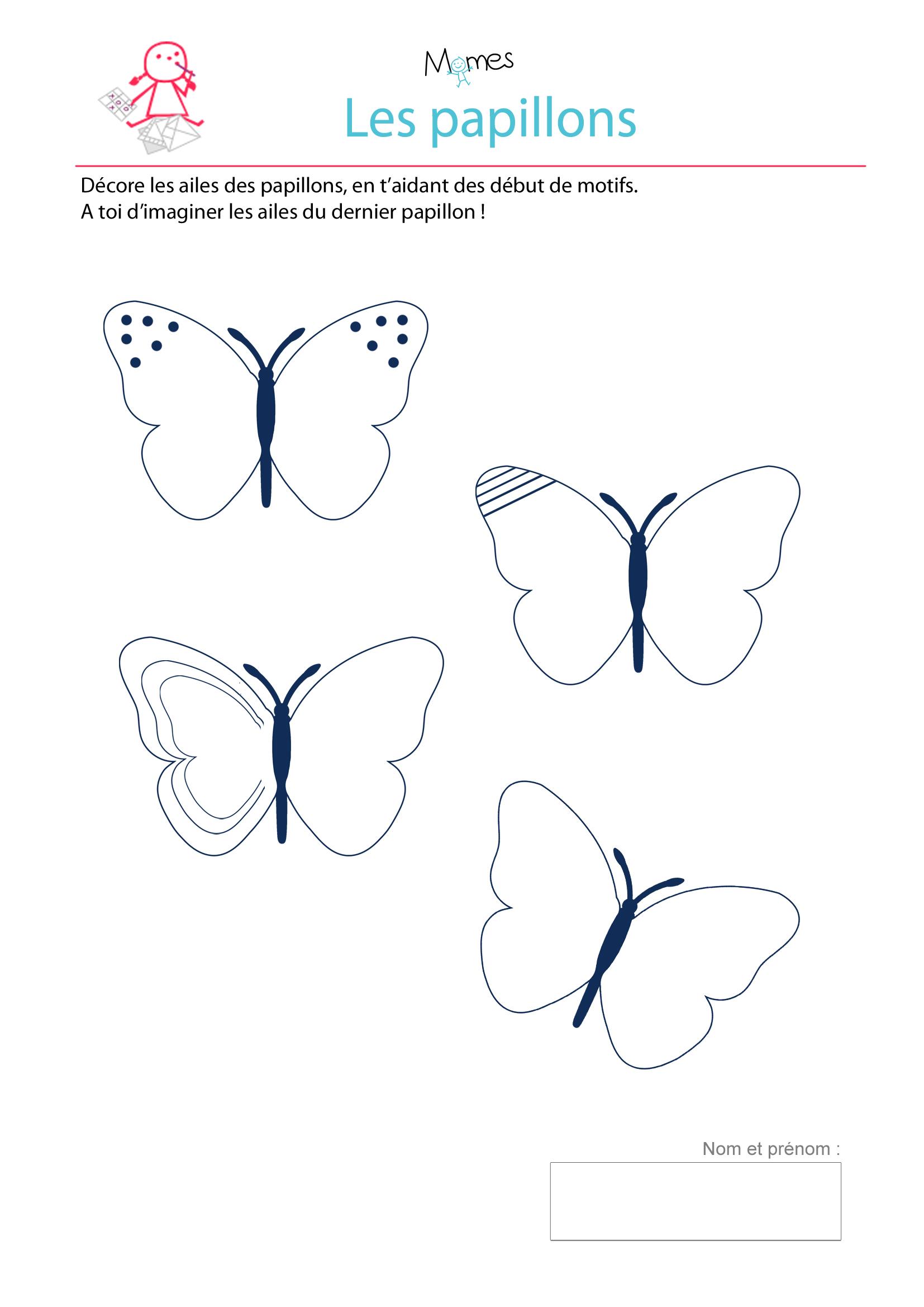 D core les ailes des papillons exercice imprimer - Papillon maternelle ...