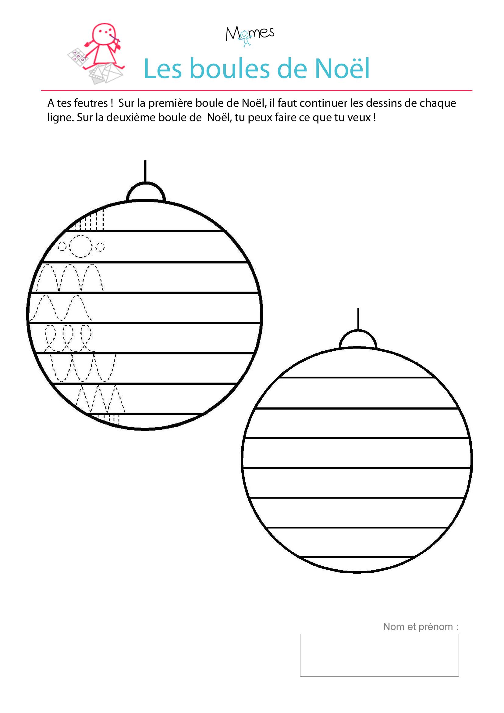 exercice de tracé boules de noel à décorer