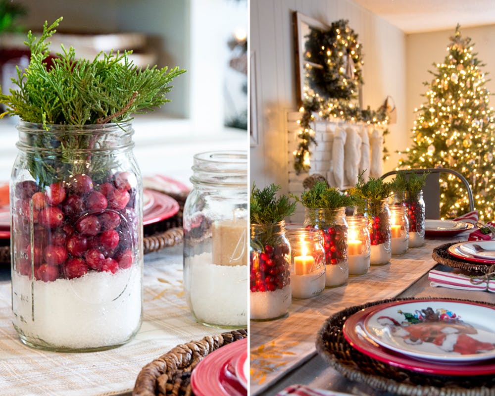 idées décorations Noël rapides simples faciles dernière minute bocaux noël table