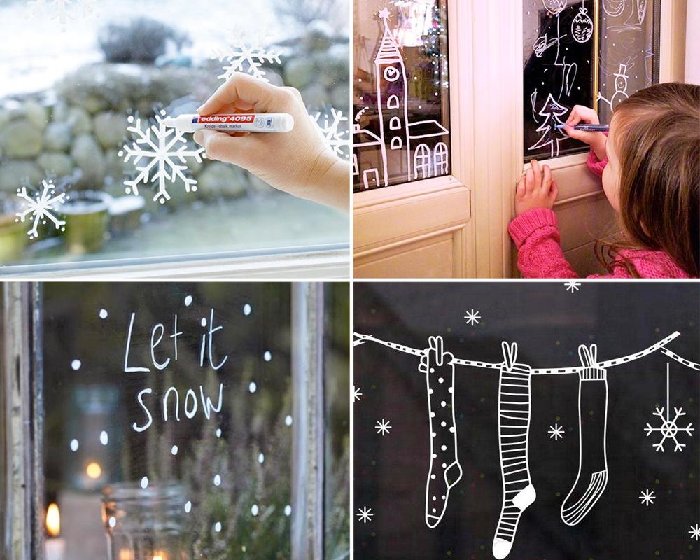 idées décorations Noël rapides simples faciles dernière minute dessins noël sur les fenêtres
