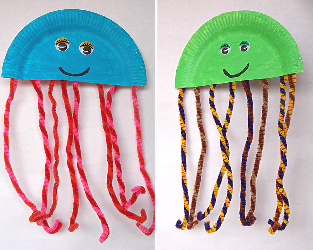 bricolages méduses assiettes en carton