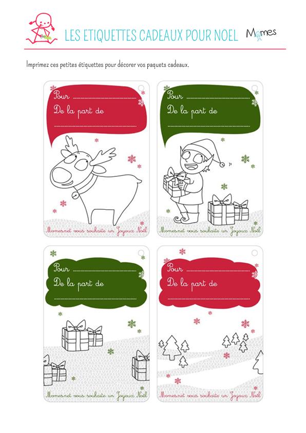 Des étiquettes pour les cadeaux de Noël