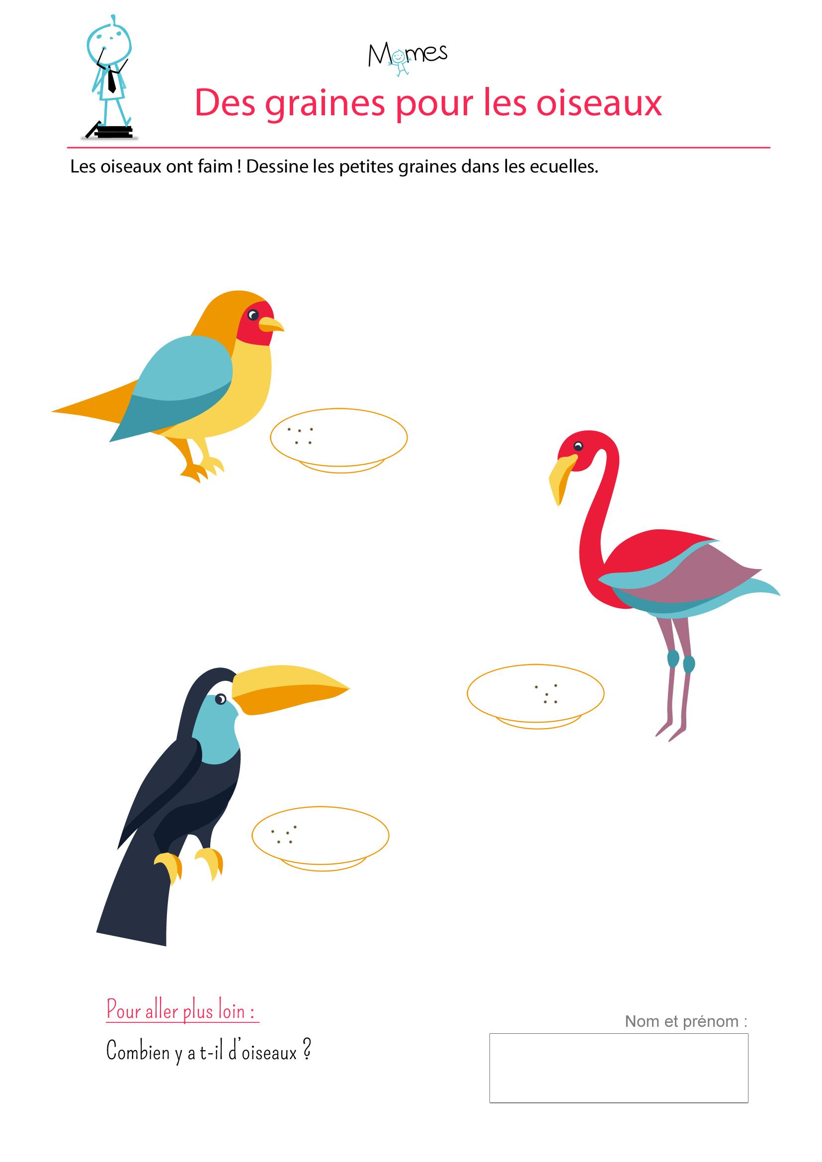Des graines pour les oiseaux dessiner des points - Dessiner un oiseau en maternelle ...