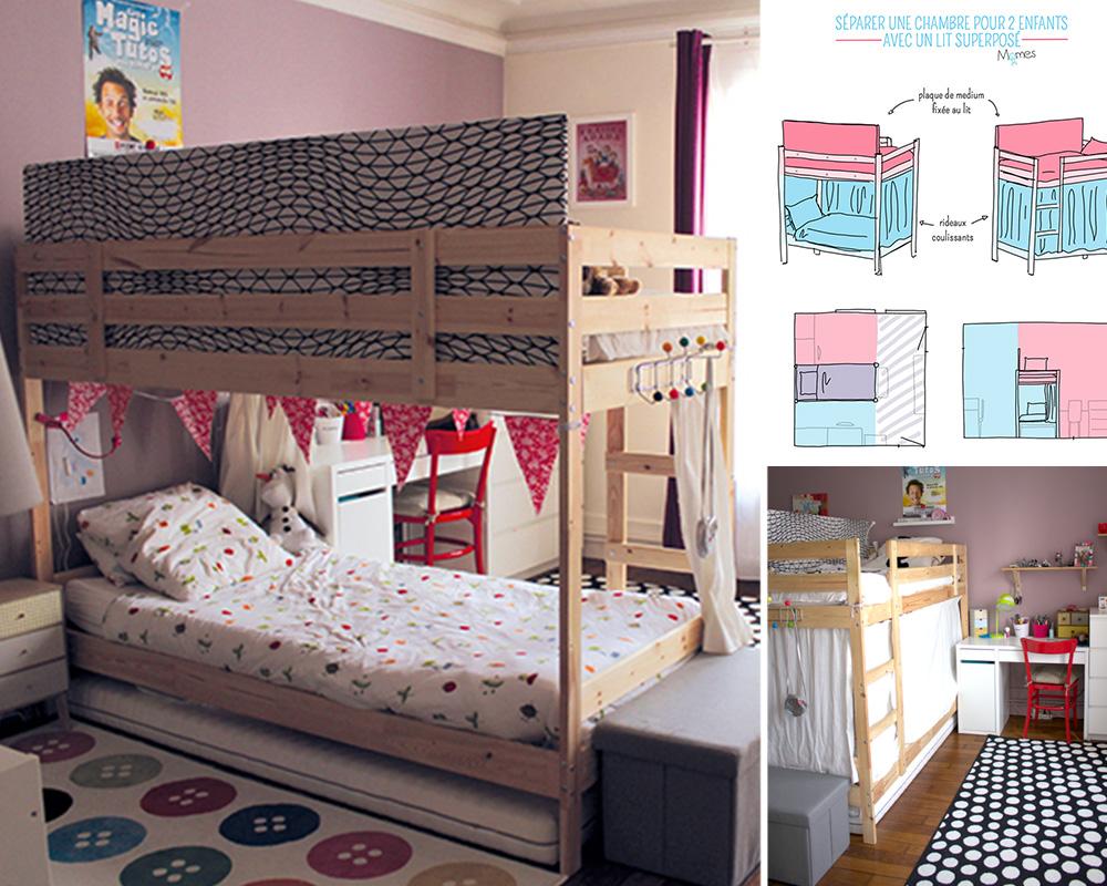 séparation chambre 2 enfants lit superposé