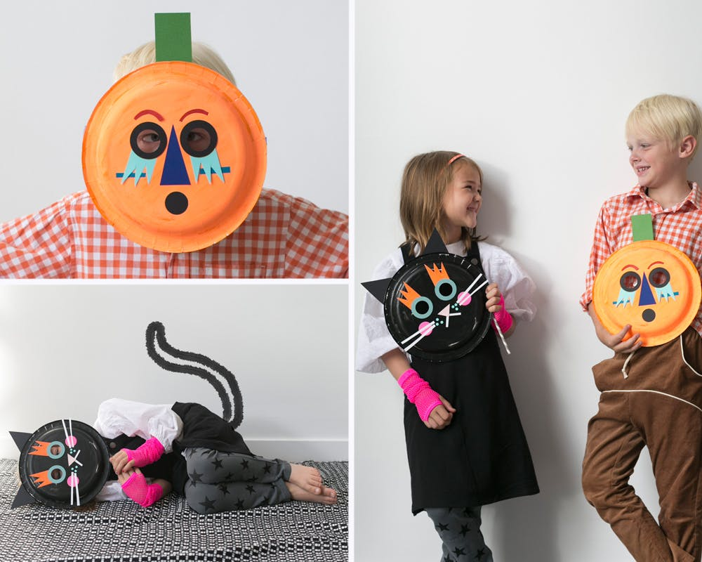 bricolages masques halloween assiettes en carton