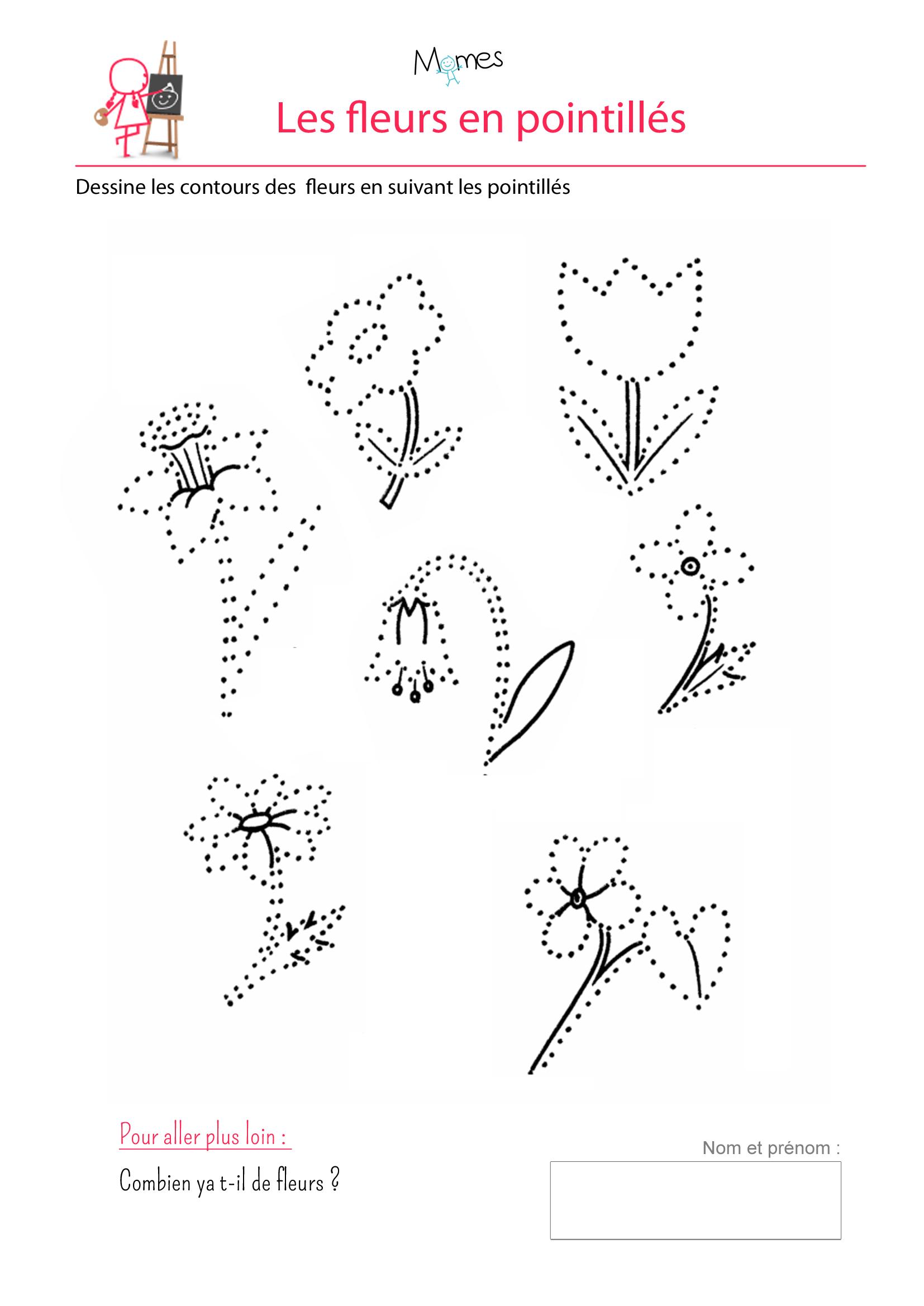 exercice à imprimer tracé courbe fleur maternelle