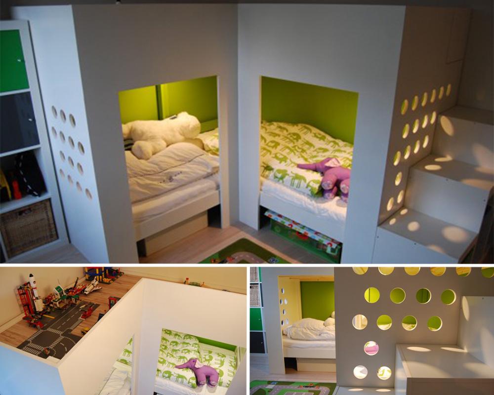 séparation chambre pour 2 enfants lits espace jeux en mezzanine