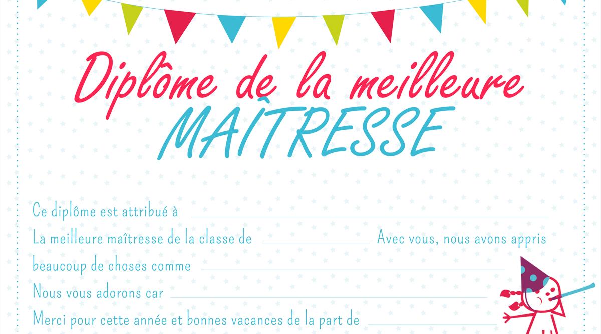 Coloriage Coeur Maitresse.Diplome De La Meilleure Maitresse Momes Net
