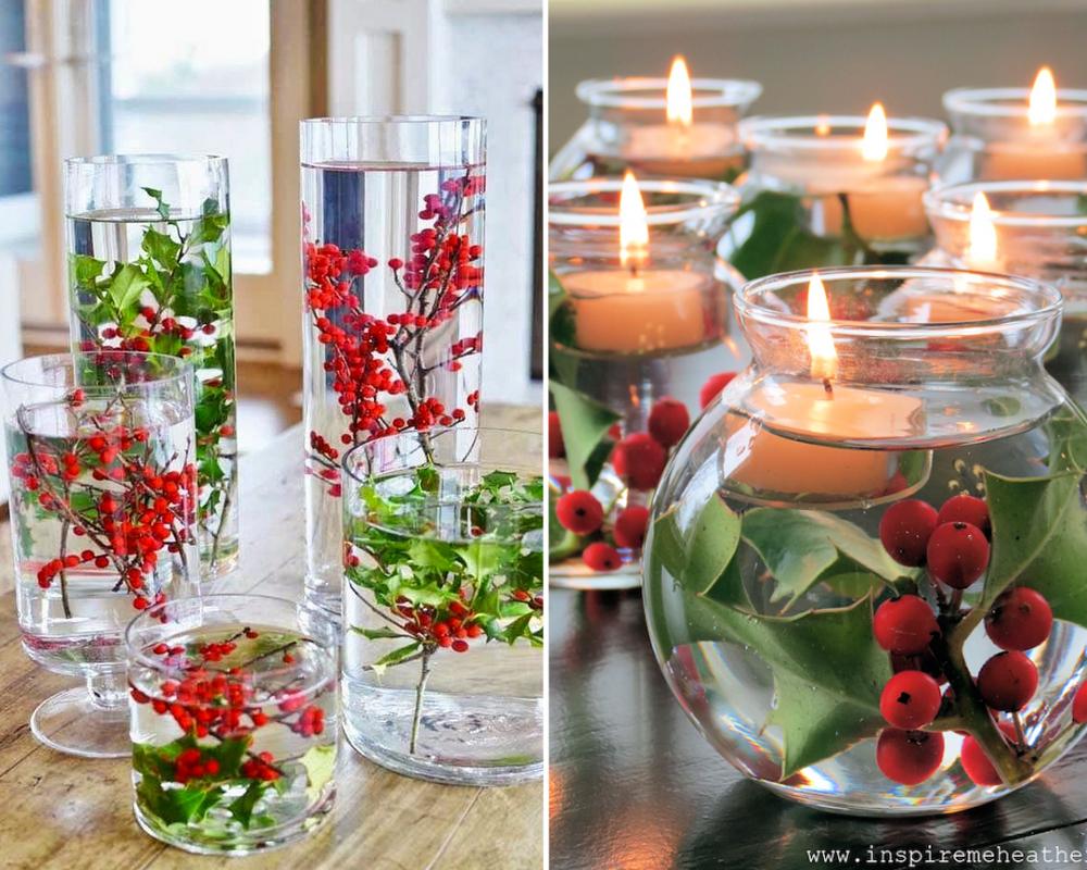 idées décorations Noël rapides simples faciles dernière minute du houx dans l'eau