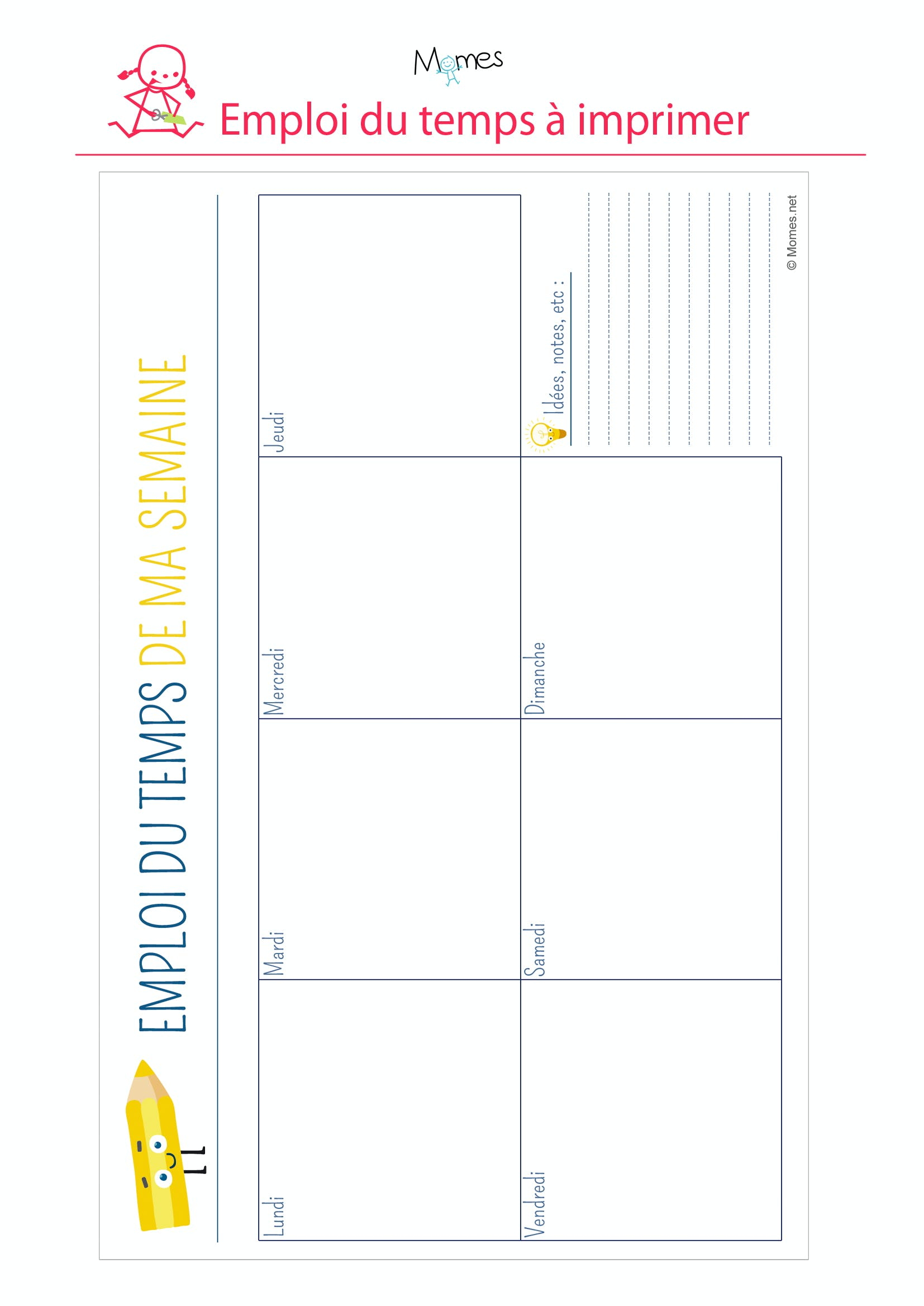 emploi du temps crayon imprimer. Black Bedroom Furniture Sets. Home Design Ideas