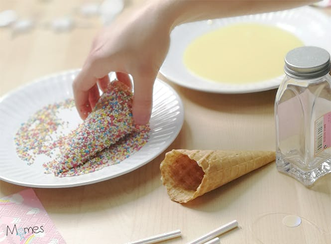 Enrobage cornet gâteau licorne