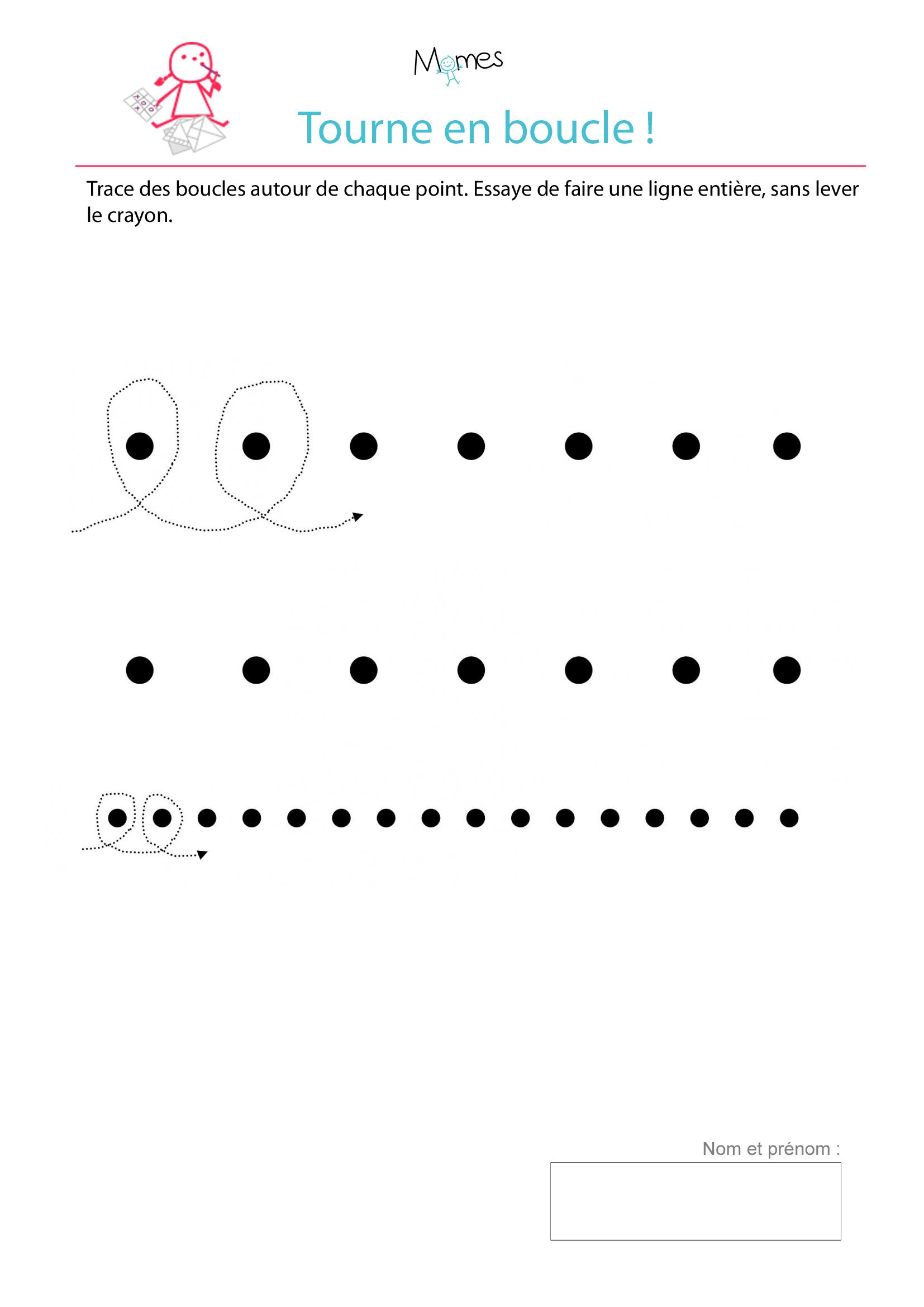 Très Exercice d'écriture : tracer des boucles autour de points - Momes.net KG84