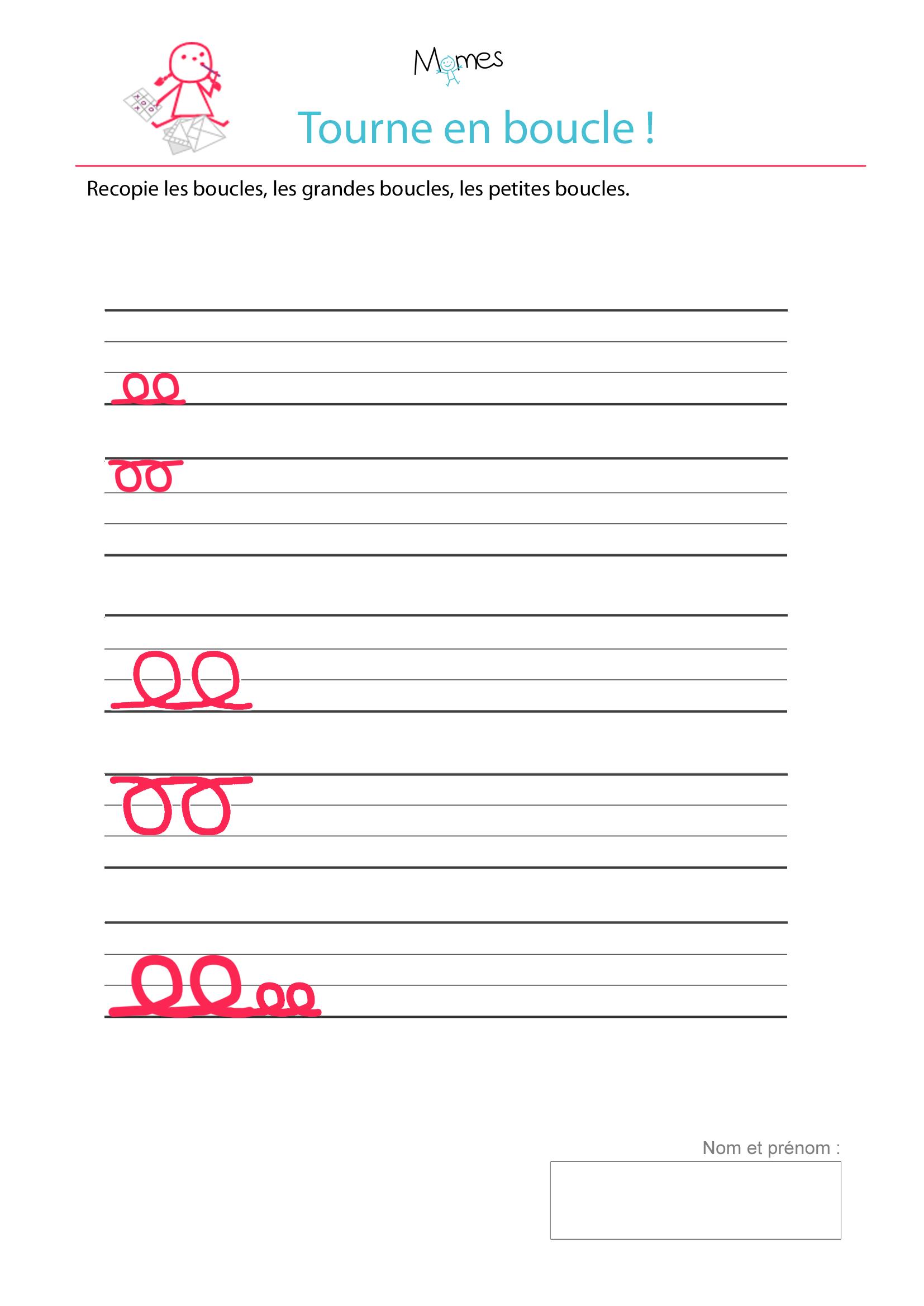 Bekannt Exercice d'écriture : tracer des boucles - Momes.net LG32