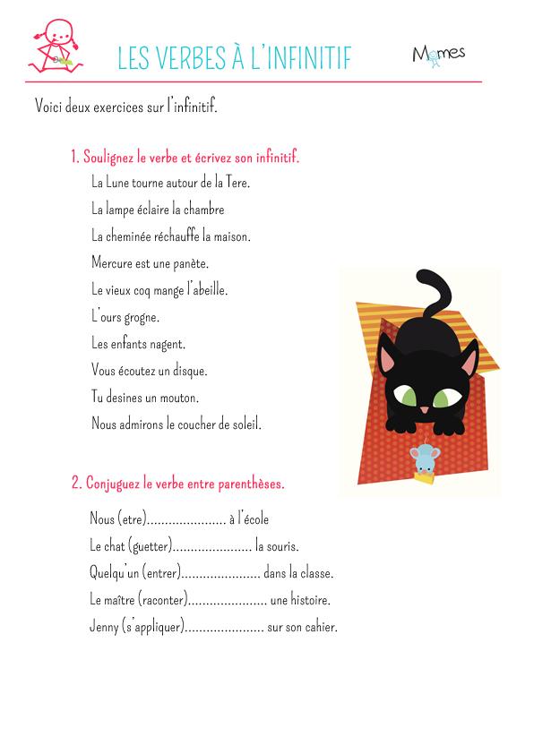 Exercice de conjugaison : L'infinitif