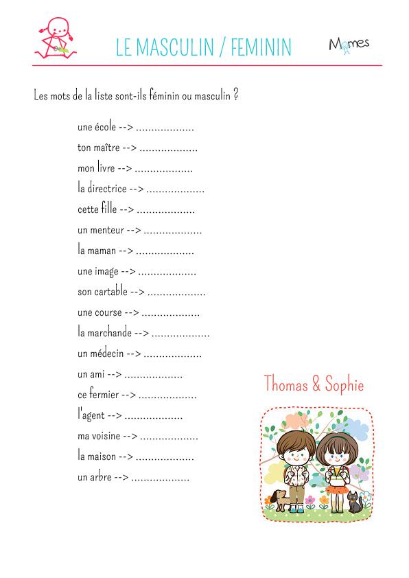 Féminin - masculin : exercice de grammaire
