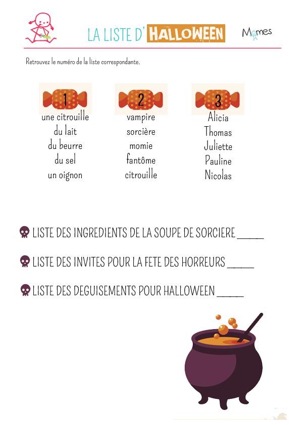 Exercice : la liste d'Halloween - Momes.net