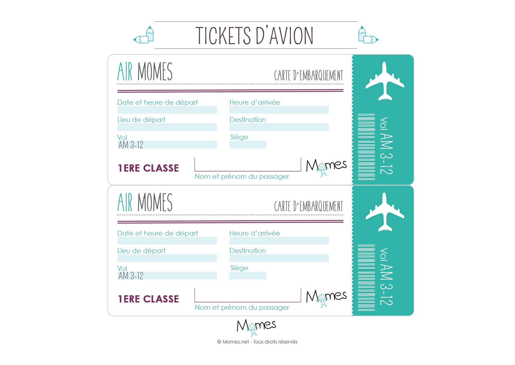 billet avion pour jouer