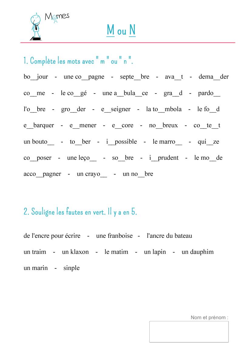 Populaire Fiche de cours : M devant B, P et M - Momes.net LA54