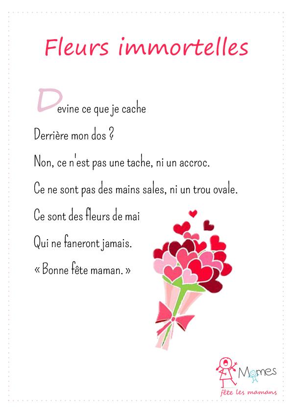 Poeme fete des mères Fleurs immortelles