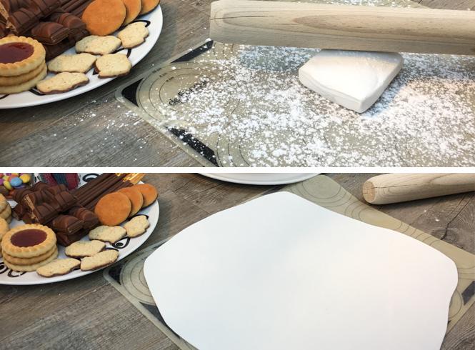 coller smarties sur gâteau