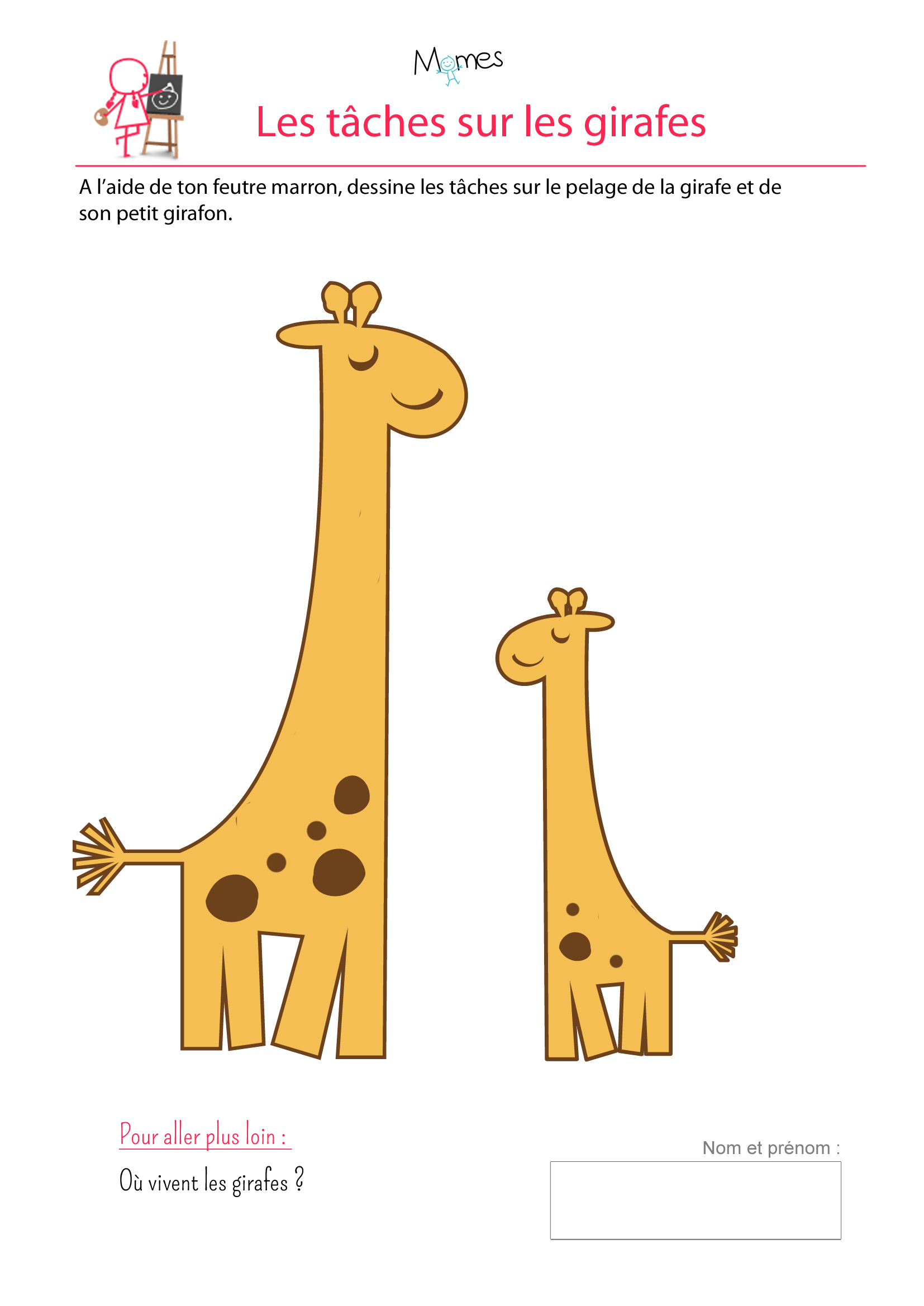 Girafes exercice de dessin - Girafe a imprimer ...