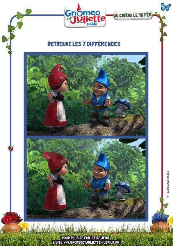 Gnoméo et Juliette : retrouve les 7 différences