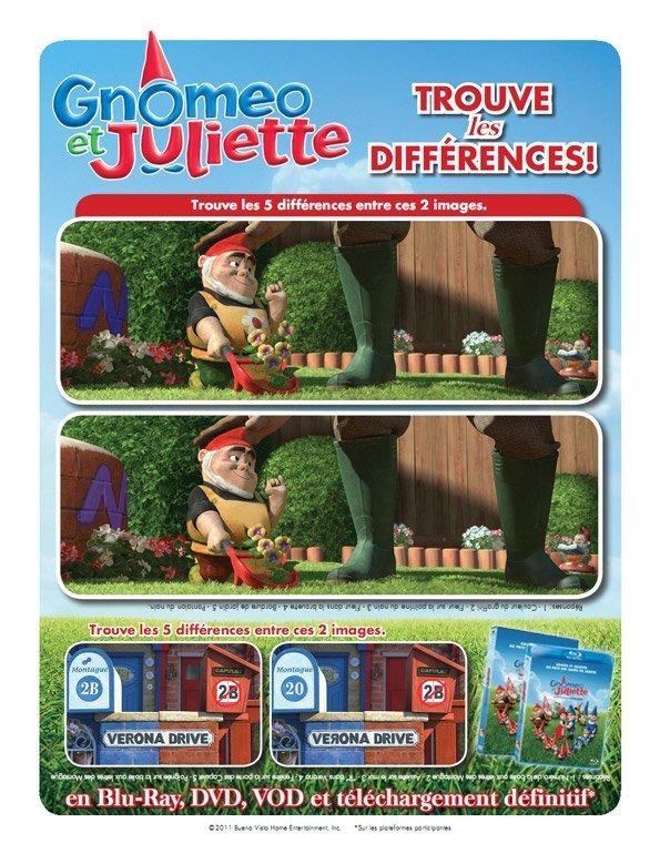 Gnoméo et Juliette : trouve les différences