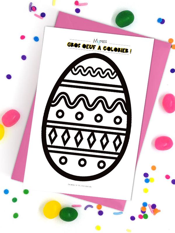 Gros oeuf de Pâques à colorier 2