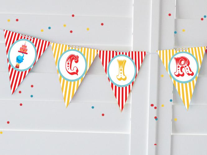 decoration anniversaire cirque à imprimer