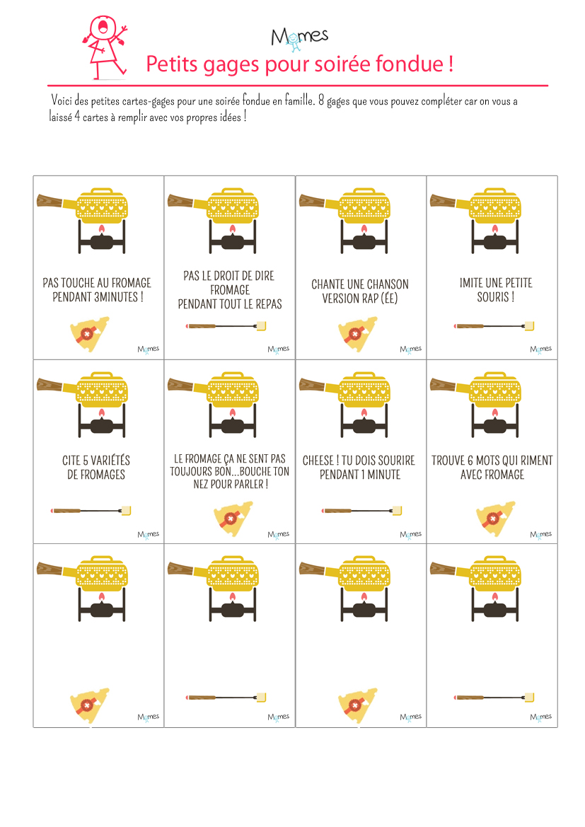 cartes gages pour fondue