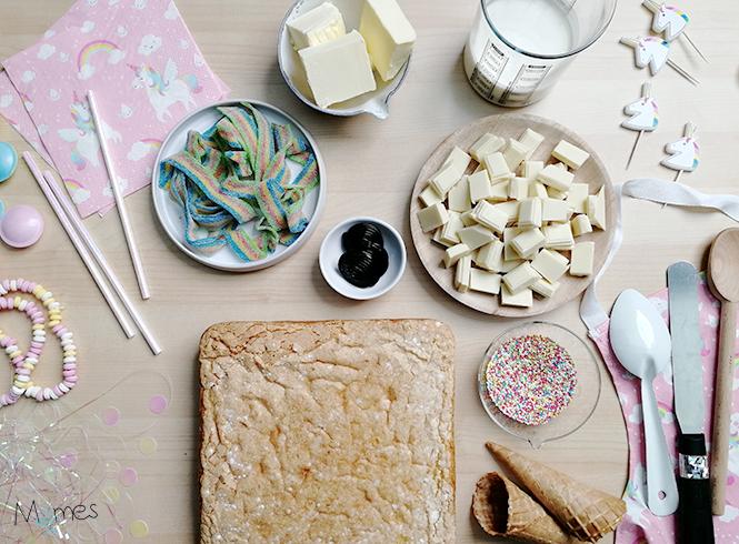 photo des ingrédients gâteau décoration licorne
