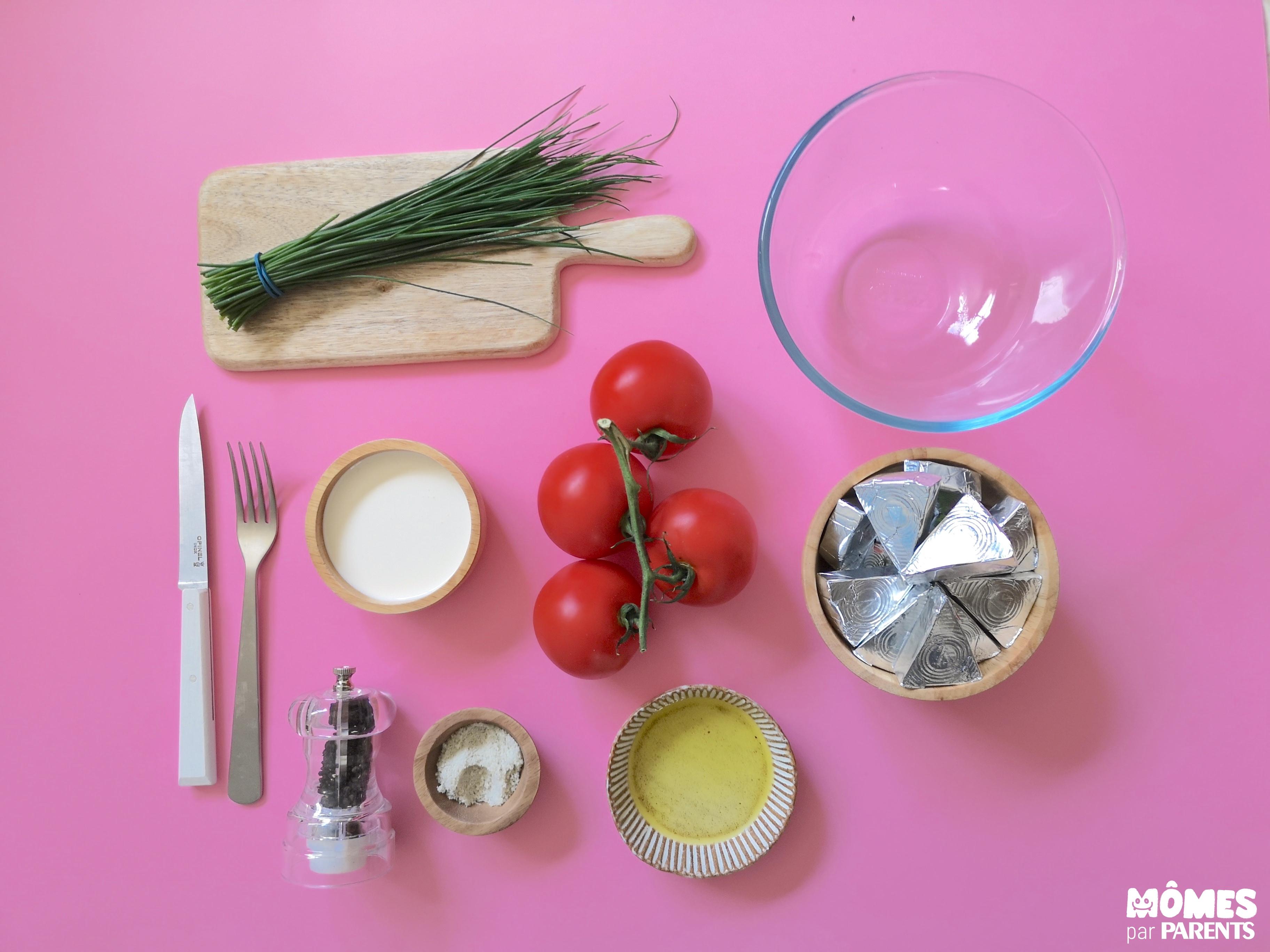 ingrédients tomates au kiri