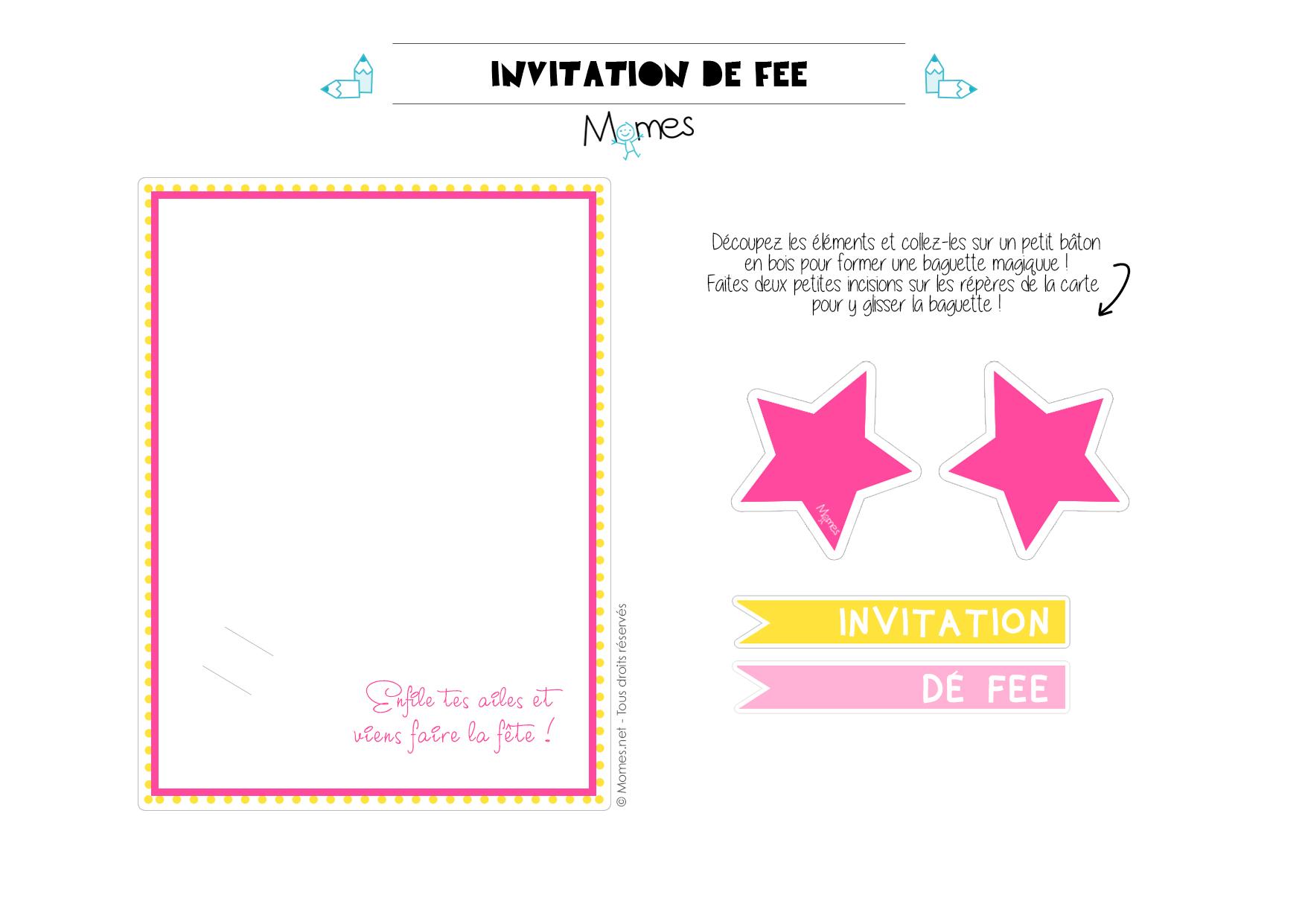 invitation fée à imprimer