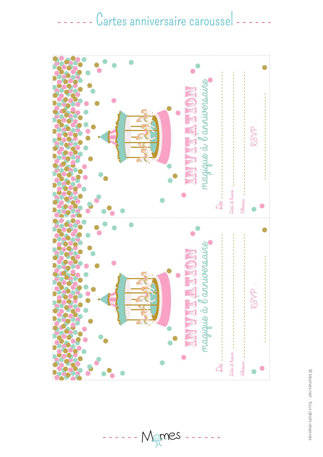 Invitation anniversaire f te foraine imprimer - Invitation a imprimer ...