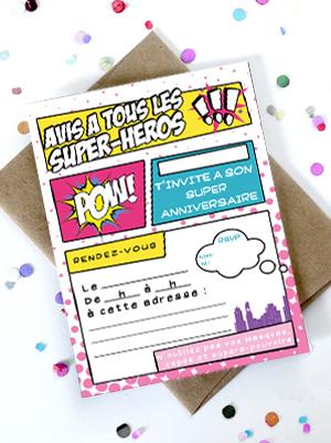 Invitation Anniversaire Super Héros Fille Momes Net
