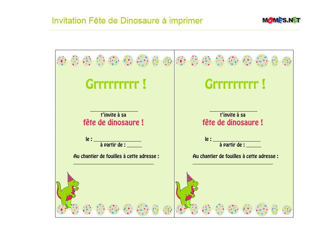 Turbo Invitation Dinosaure à imprimer - Momes.net VE24
