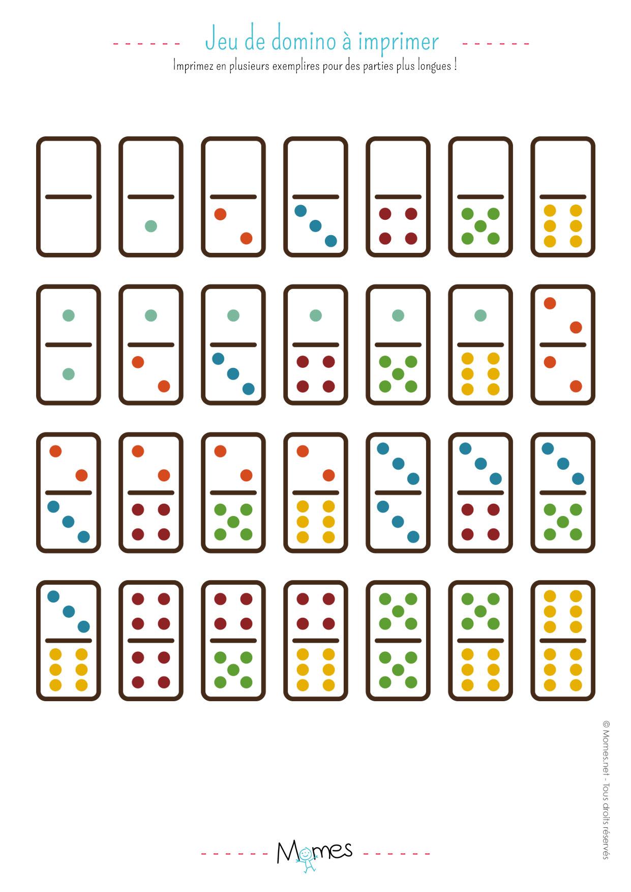 Jeu de Dominos à imprimer