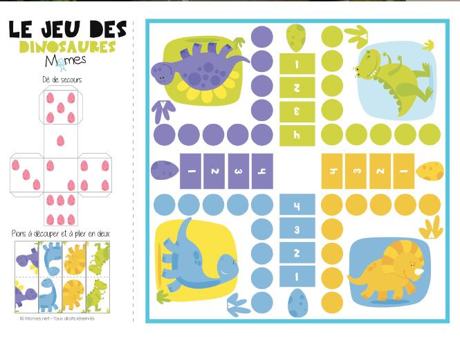 Jeu De Petits Chevaux à Imprimer Version Dinosaures