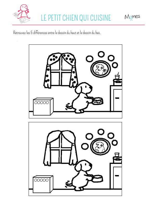 Jeu des 5 erreurs : le petit chien qui cuisine