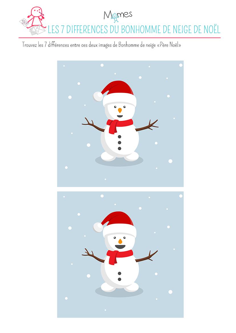 jeu des 7 diff rences le bonhomme de neige p re no l. Black Bedroom Furniture Sets. Home Design Ideas